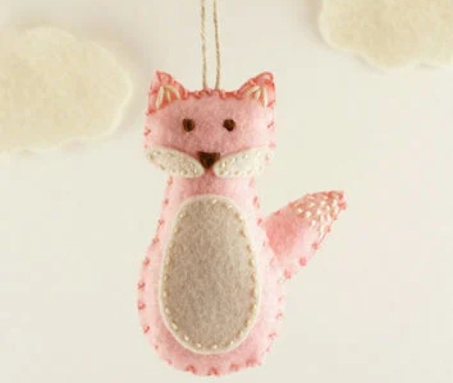 Pink Fox Felt Ornament Babys First Christmas Baby Girl New B