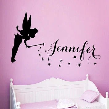 Fairy Wall Decal Personalized Name S Bedroom Stickers For Kids Rooms Custom Names Tinkerbell Nursery Decor Syy874
