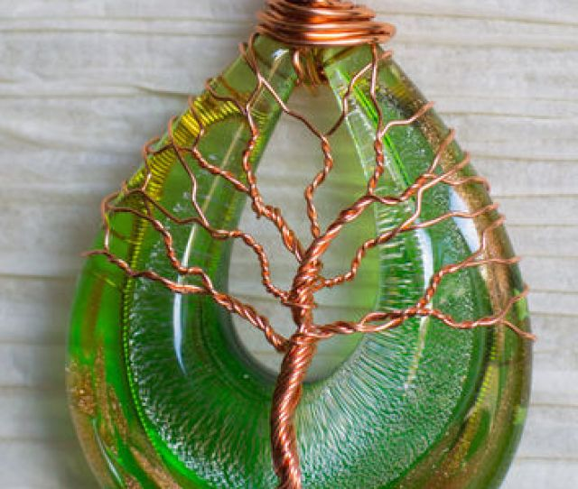 Tree Of Life Green And Gold Glass Fused Necklace Wire Wrapped Wi