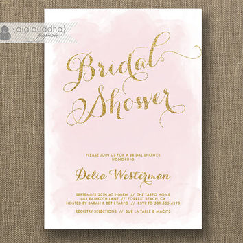 Blush Pink Gold Glitter Bridal Shower Invitation Modern Watercolor Shabby Chic Wedding Hens Party