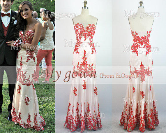 2014 Red Prom Dress, Red Lace Gown Rich From MyGown On Etsy