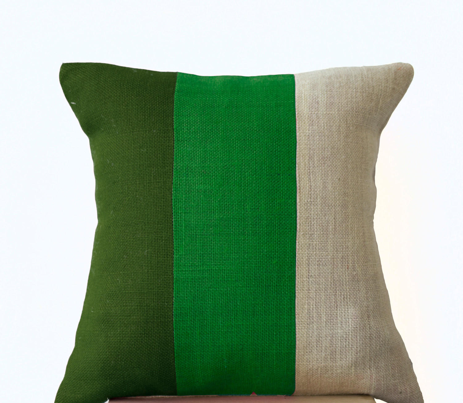 Chic Green Burlap Pillow Throw Pillows from casaamore