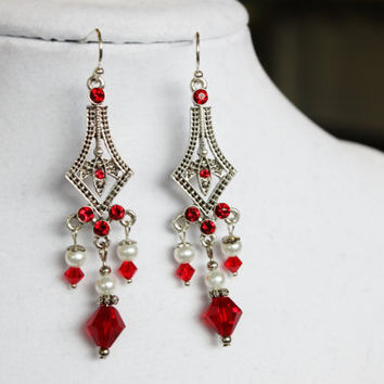 Red White And Silver Crystal Chandelier Earrings Plated Swarovski Components With