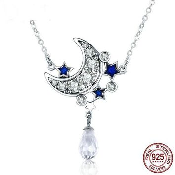 Shop Crescent Moon And Star Necklace on Wanelo