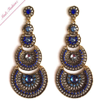 Royal Blue Chandelier Earrings – Chandeliers Design:Antique Gold Royal Blue Bridal Chandelier From Madzfashionzuk On,Lighting