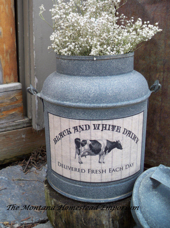 Rustic Metal milk can vintage look Milk from TheMontanaHomestead