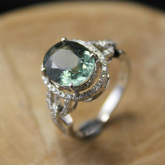 2 Carat Green Tourmaline Engagement Ring, From