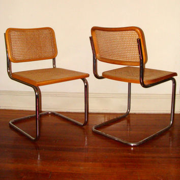vintage kitchen chairs unique tools set of cesca style cantilever from studio180 on etsy my dining or cane and chrome 1960 s