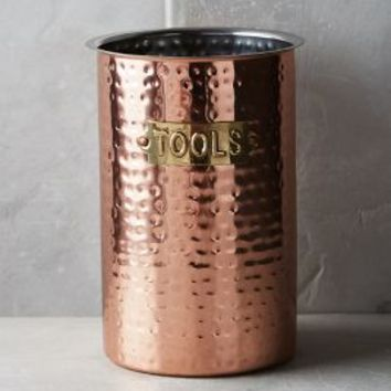 copper kitchen utensil holder metal cabinets hammered tool jar by anthropologie from in size one