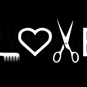 Download Love hairstylist car decal, laptop decal, from ValdonImages on