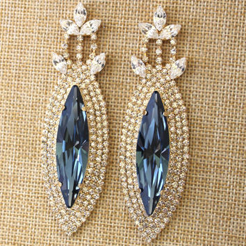 Blue Navy Statement Earrings Swarovski Chandelier Dark Long Bridal