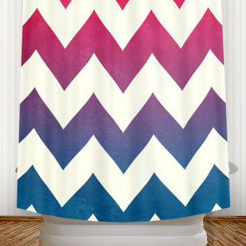 Shop Navy Blue And Pink Shower Curtain On Wanelo