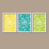 Yellow Turquoise Lime Bedroom Wall Art from TRM Design ...