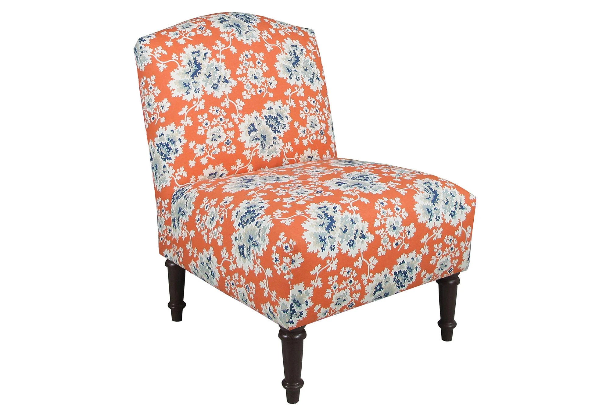 blue floral chair chairs for front porch clark slipper orange from one kings lane