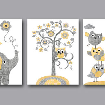 Mothers Day Two Flower Wall Hangings Mellow Yellow Dahlia On Gray And White Damask