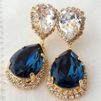 Navy Blue And Clear Chandelier Earrings Drop Dangle Bridal