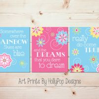 Toddler Girls Room Wall Art Pink Blue from HollyPop Designs