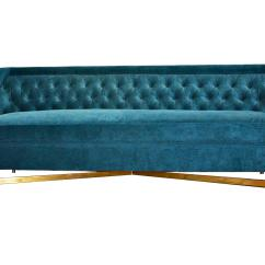 Tufted Turquoise Sofa Leather L Shaped Kim Salmela Coco 93 Quot Velvet From One Kings Lane