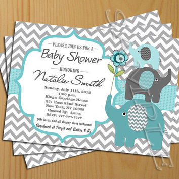Chevron Baby Shower Invitation Boy Teal Tiffany Free Thank You Card Included Invite Printable
