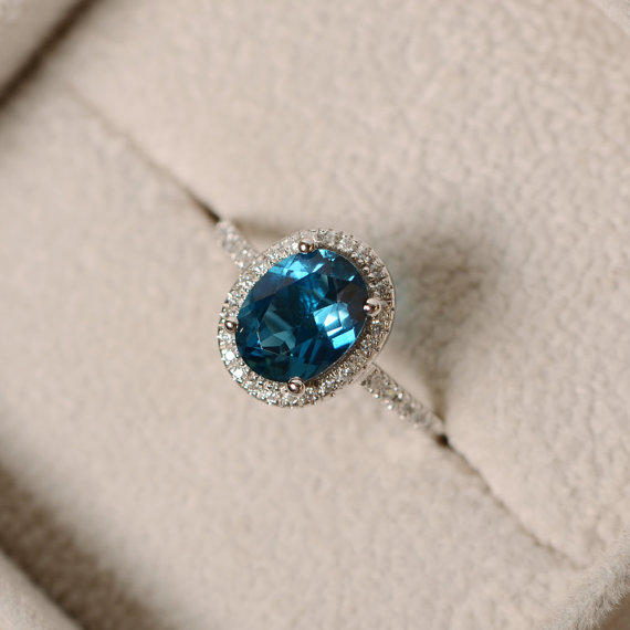 London Blue Topaz Ring Oval Gemstone From LuoJewelry On Etsy