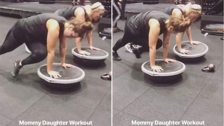 Ashley Graham and Linda Graham Exercise Workout Knee Plank Twist on Bosu Ball Core Abs Balance Stability Obliques