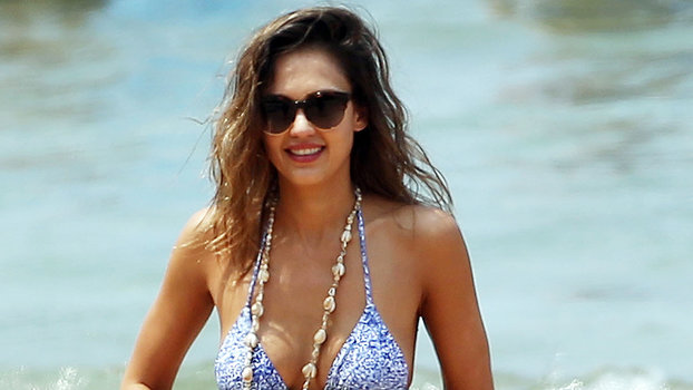 Jessica Alba Wears Blue Bikini In Hawaii