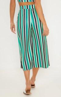 Green Stripe Tie Waist Culotte | Trousers | PrettyLittleThing