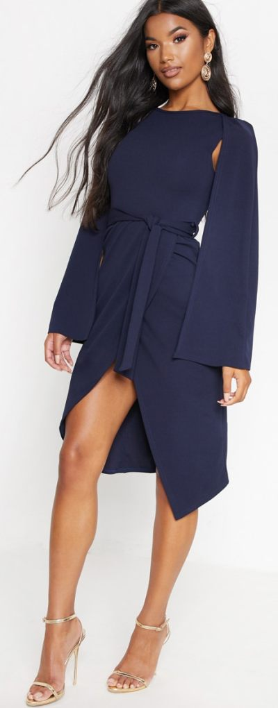 Navy Cape Style Wrap Midi Dress