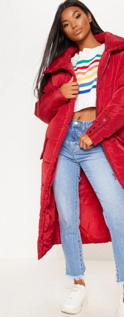 Burgundy Longline Puffer Jacket