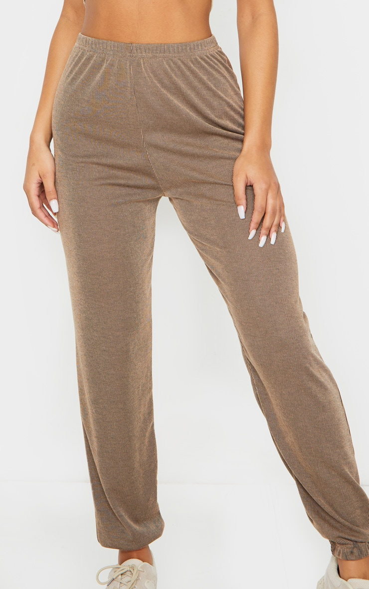 Camel Contrast Ribbed Casual Joggers image 4