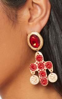 Red Diamante Large Cross Earrings | PrettyLittleThing