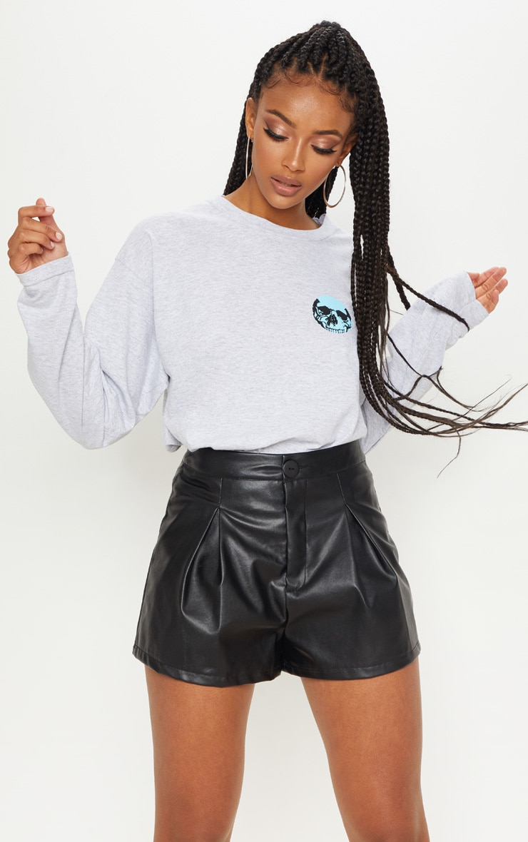Black Faux Leather Pleat Front Short Shorts