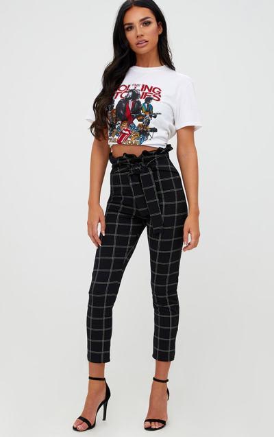 Black Tweed Check Paperbag Skinny Trousers