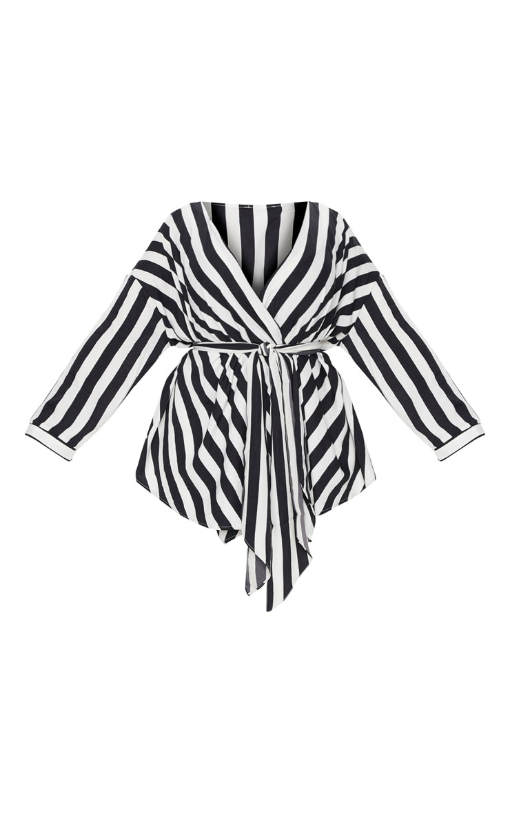 Plus Black Bold Stripe Tie Waist Blouse