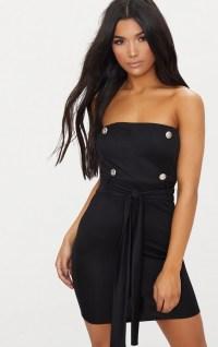 Black Bandeau Button Detail Tux Tie Waist Bodycon Dress ...