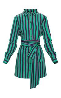 Green Stripe Tie Waist Shirt Dress | PrettyLittleThing IE