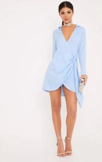 Shaylene Dusty Blue Tie Side Satin Shirt Dress ...