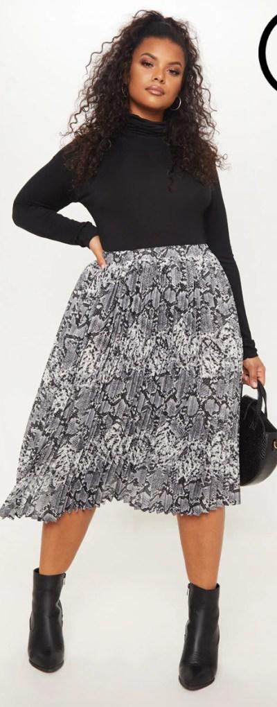 Plus Grey Snake Print Pleated Midi Skirt