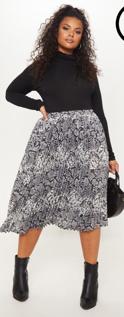 Plus Grey Snake Print Pleated Midi Skirt