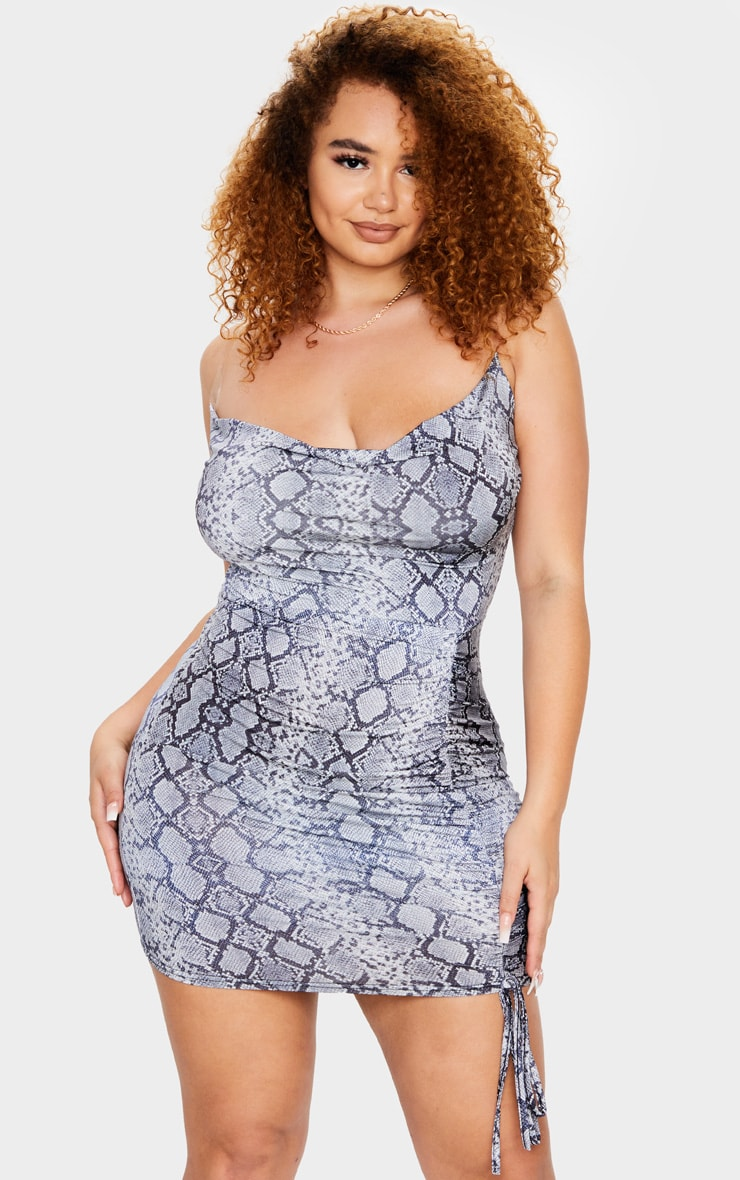 Plus Grey Snake Print Slinky Clear Strap Cowl Ruched Bodycon Dress 2