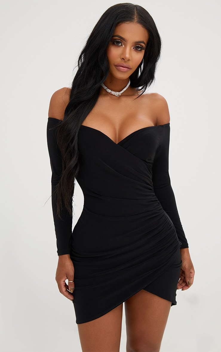 shape black ruched bardot
