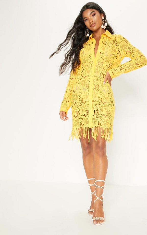 Yellow Sheer Crochet Shirt Dress PrettyLittleThing