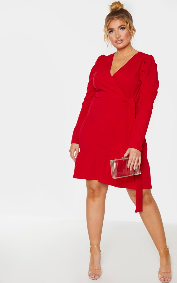 Plus Red Tie Waist Frill Hem Skater Dress 4