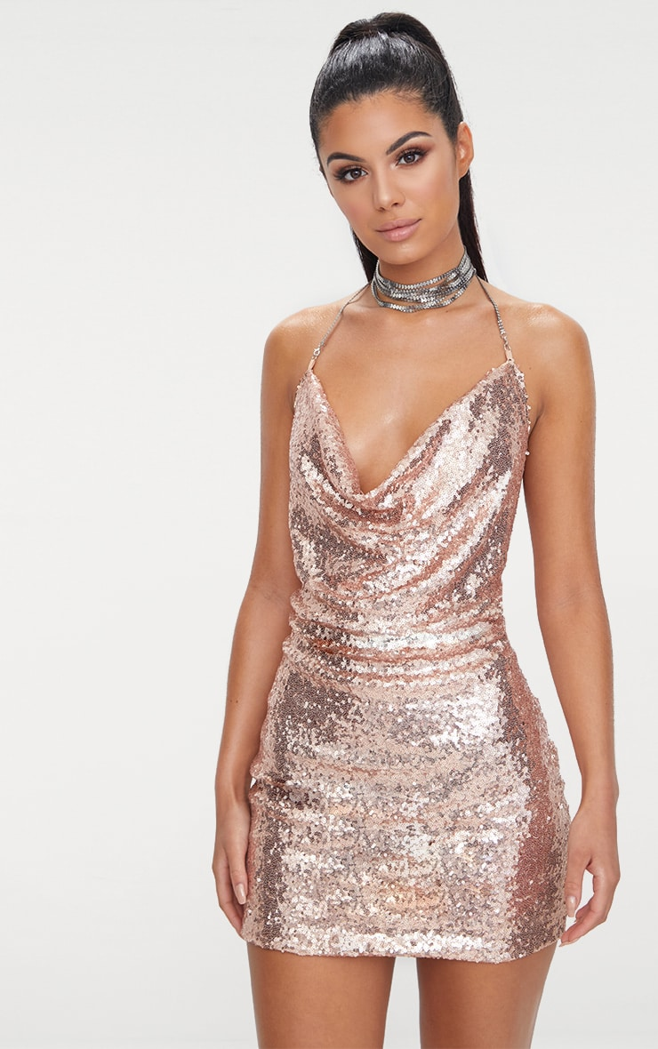 rose gold sequin chain
