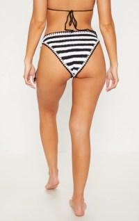 Black Striped Knitted Tie Side Beach Bottom ...