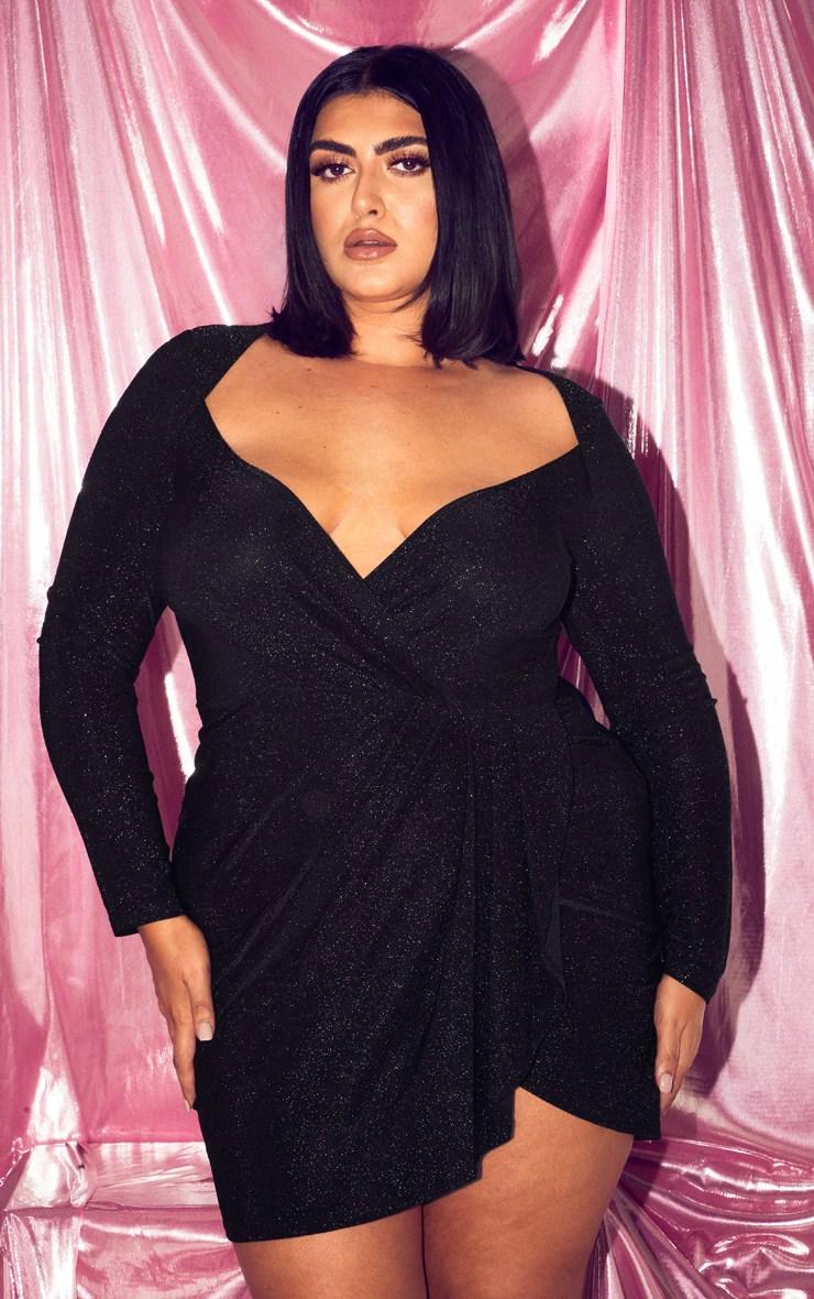 Plus Black Glitter Pleat Front Bodycon Dress 4