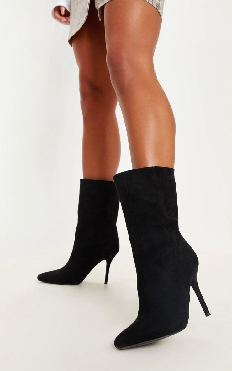 black mid heel ankle