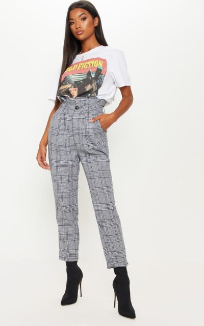 Grey Check Paperbag Trouser