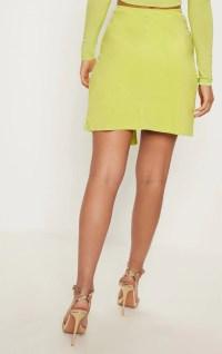 Lime Slinky Tie Waist Wrap Skirt | Skirts | PrettyLittleThing