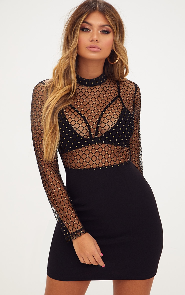 Black Criss Cross Mesh Top Bodycon Dress  PrettyLittleThing